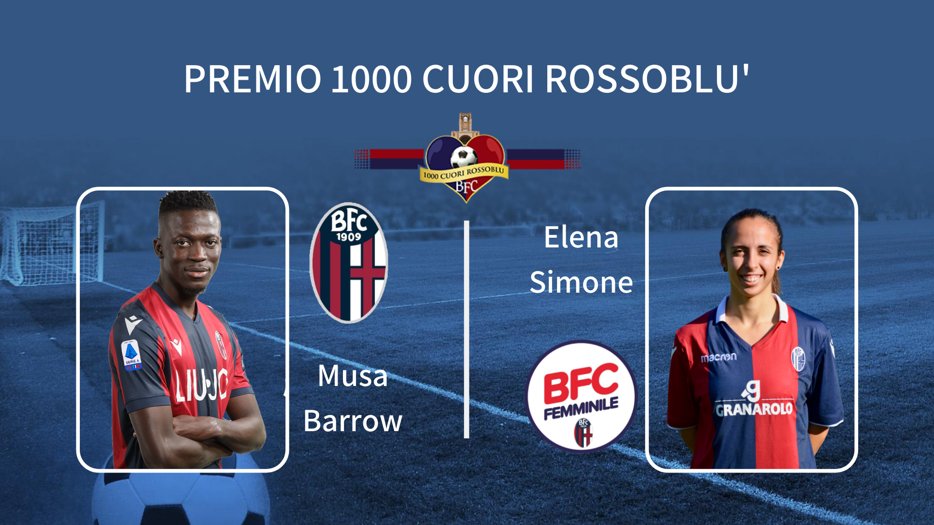 """Musa Barrow ed Elena Simone vincono il """"Premio 1000 Cuori Rossoblù"""""""