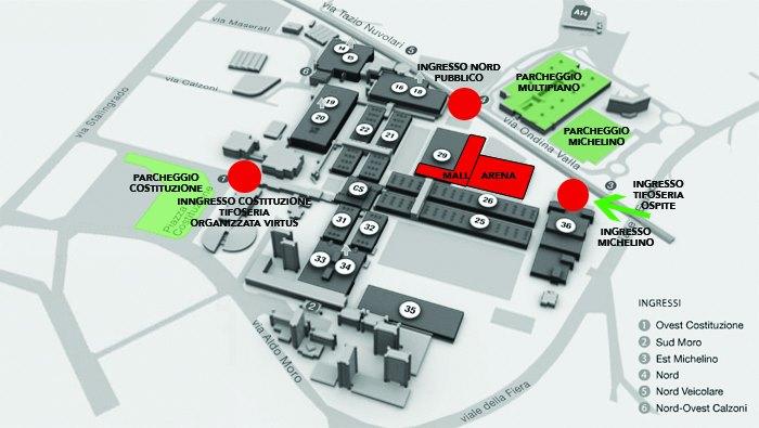 Le indicazioni per l'accesso alla Virtus Segafredo Arena